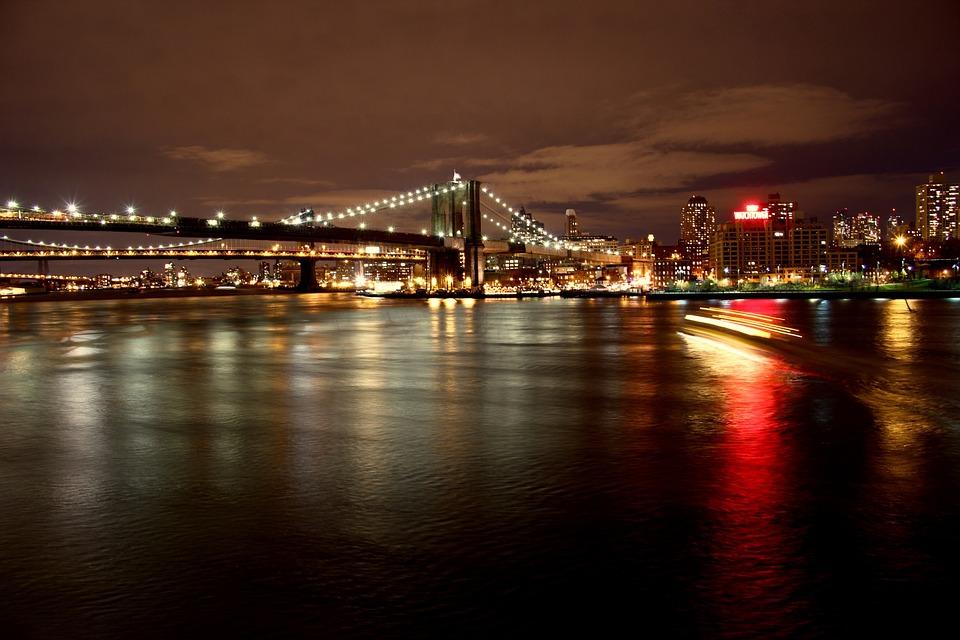 Vista Nocturna, Nueva York, Manhattan, Estados Unidos