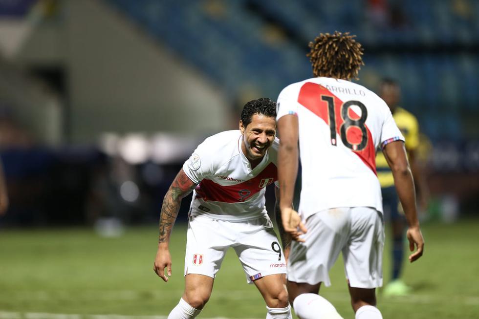 Gianluca Lapadula logró anotar con la camiseta peruana y qué mejor que el primer gol que tanto necesitábamos. (Jesús Saucedo/GEC)